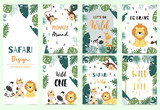 Fototapeta Fototapety na ścianę do pokoju dziecięcego - Green collection of safari background set with lion,zebra,giraffe,monkey.Editable vector illustration for birthday invitation,postcard and sticker.Wording include wild and free