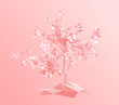 Romantic Tree on Pink Background. Low Poly Valentines Vector 3D Rendering