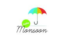 Rainy Day Monsoon Poster With Umbrella