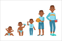 Black Boy Growing Stages With Illustrations In Different Age