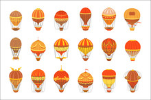 Vintage Hot Air Balloons Set
