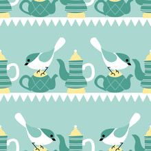 Birds And Tea Pots In A Seamle...