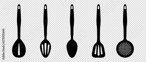 Fotomural  Kitchen Utensils - Vector Silhouette Set - Isolated On Transparent Background