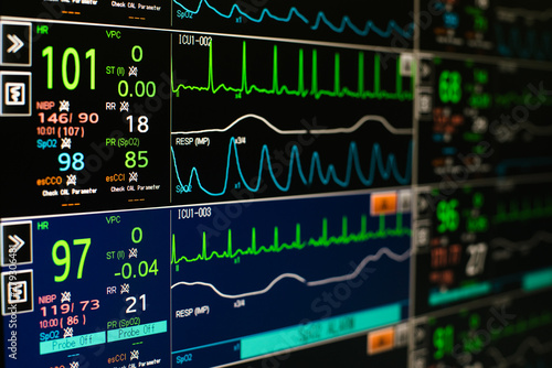 Modern vital signs monitor display at ICU in hospital. Canvas Print