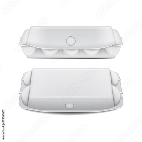 Fényképezés  Box tray for eggs mock up vector template, white empty clamshell containers