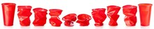 Red Crumpled Plastic Cups Isol...