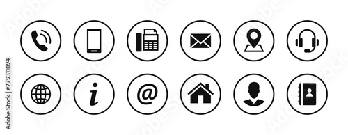 Fotomural Set of contact icons in circles