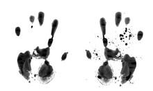 Black Handprint On A White Background