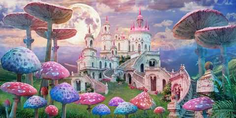 "fantastic landscape with mushrooms. illustration to the fairy tale ""Alice in ..."