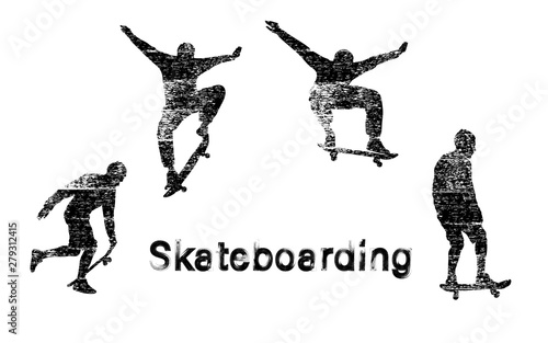Set of black skateboarder silhouettes with white noise texture. Skate trick ollie. Skateboarder is rides, pushes off the ground, jumping, standing on the board. Isolated vector illustration.