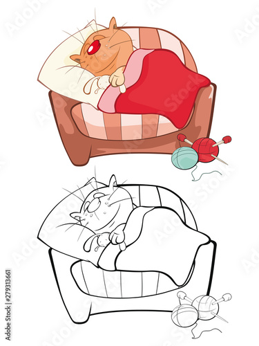Papiers peints Chambre bébé Vector Illustration of a Cute Cartoon Character Cat for you Design and Computer Game. Coloring Book Outline Set
