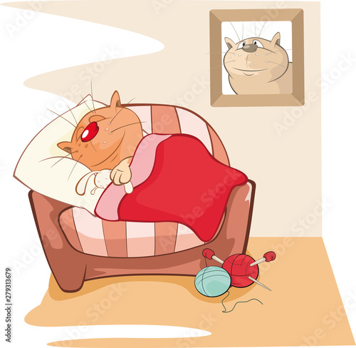 Foto auf AluDibond Babyzimmer Vector Illustration of a Cute Cat. Cat Sleeping in the Room. Comics Book