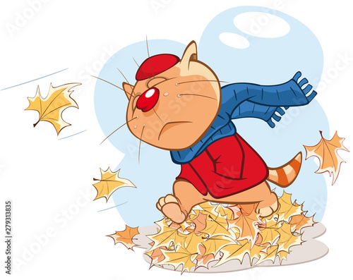 Poster Chambre bébé Vector Illustration Autumn Cat Comics Book