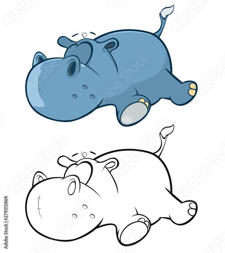 Papiers peints Chambre bébé Vector Illustration of a Cute Little Hippo Cartoon Character. Coloring Book.