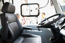 Seat And Steering Wheel. Bus Driver