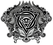 Gothic Sign With Skull, Grunge...