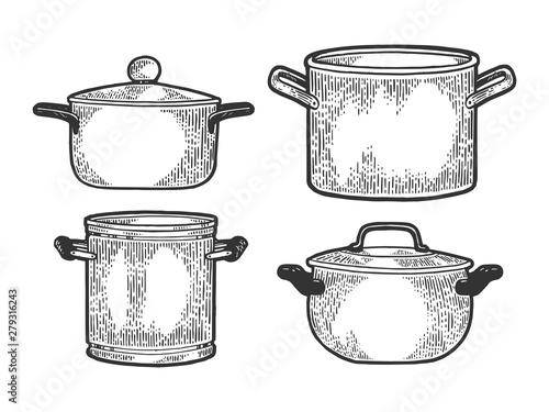 Canvastavla Pan casserole pot set kitchen utensils sketch engraving vector illustration