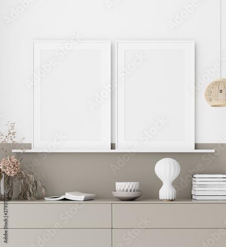Mock up poster in modern interior background, 3D rendering