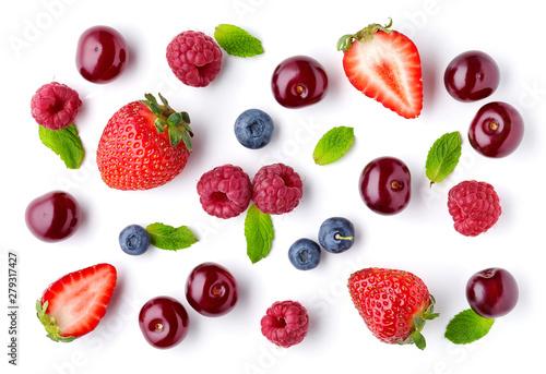 fresh berries pattern Wallpaper Mural