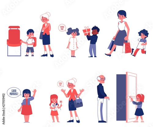 Fotografie, Obraz  Polity and good manners set of flat vector Illustrations isolated on a white
