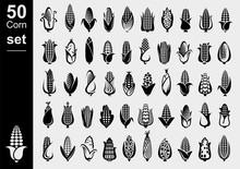Corn Set. Collection Icon Corn. Vector