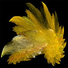 Digital Computer Fractal Art Abstract Fractals Yellow Shiny Crystal
