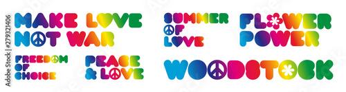 Pinturas sobre lienzo  Slogans of the hippie years
