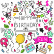hand drawn party doodle happy birthday Ornaments background pattern Vector illustration