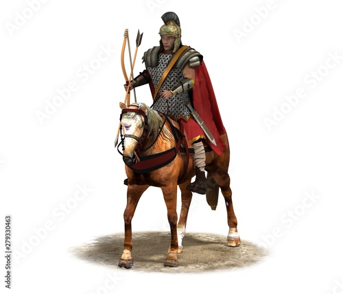 Photo rider, warrior on horseback, 3D rendering, 3D illustration