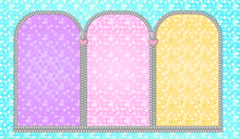 Set Of Unzipped Semicircular Frames. Doll's Girly Birthday Backdrop Photo Booth Zone. Turquoise Green Festive Background With Multicolored Arched Window. Glitter Golden Yellow, Red Pink, Purple Lilac