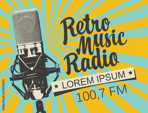 Fotografija Vector banner for radio station with studio microphone and inscription Retro music radio on the abstract background with rays