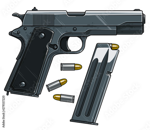 Stampa su Tela Graphic cartoon colorful detailed metallic handgun pistol with ammo clip and bullets