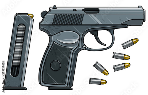 Cuadros en Lienzo Graphic cartoon colorful detailed metallic handgun pistol with ammo clip and bullets