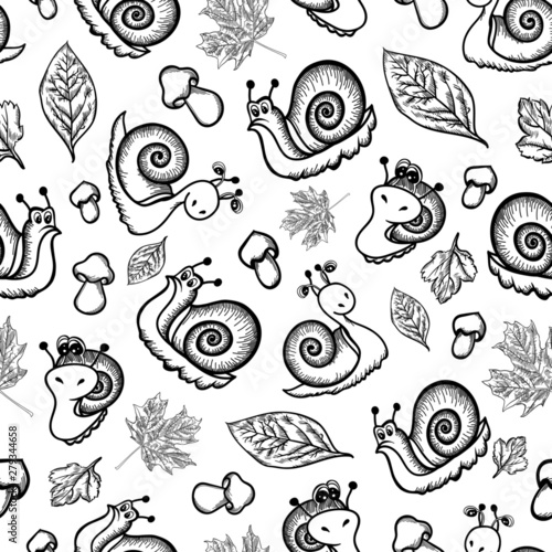 pattern snail mushroom leaves background autumn nature wallpaper children's illustrations