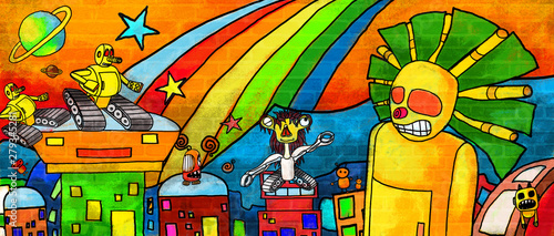 Fotografie, Tablou  Smiling  monsters enjoying the music the colorful paint  Wall