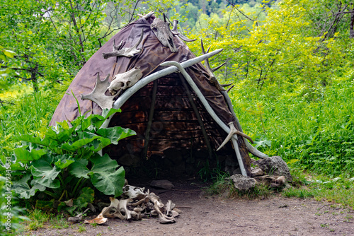 Reconstruction of the human dwelling of the Stone Bronze Age Wallpaper Mural