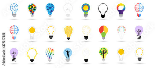Fotografie, Tablou  Bulb Icons Set - Isolated On Gray Background
