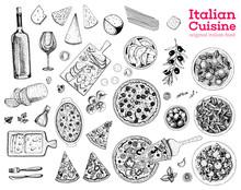 Italian Food Sketch. Set Of It...