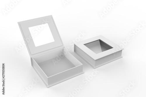 Fotografering  White blank square hard window box for branding mock up template, 3d illustration