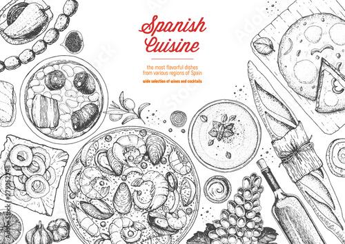 Spanish cuisine top view frame Wallpaper Mural