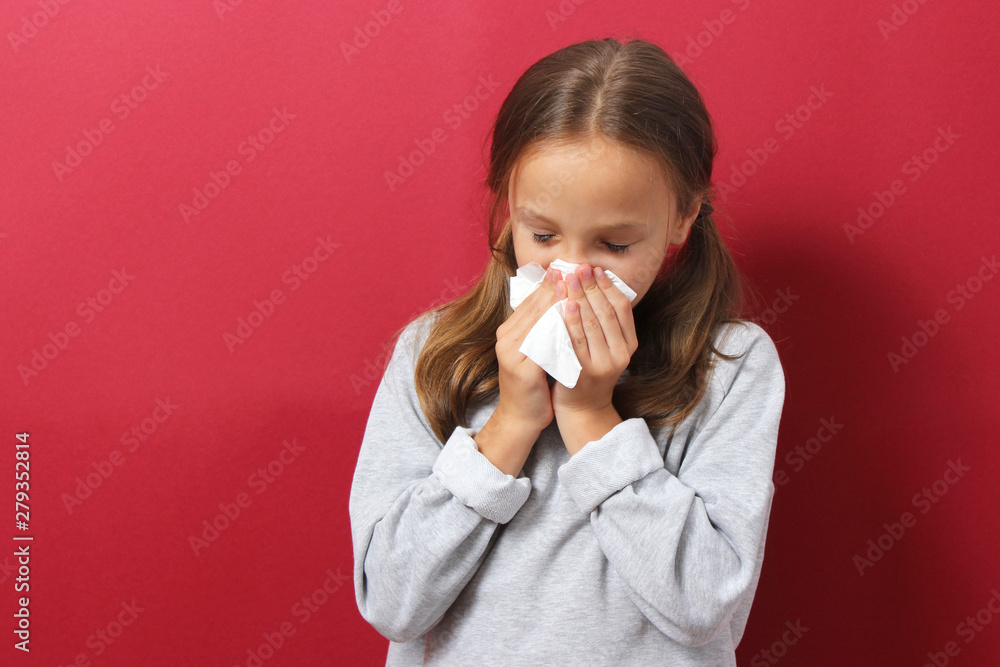 Fototapety, obrazy: Portrait of a cold girl on a colored background