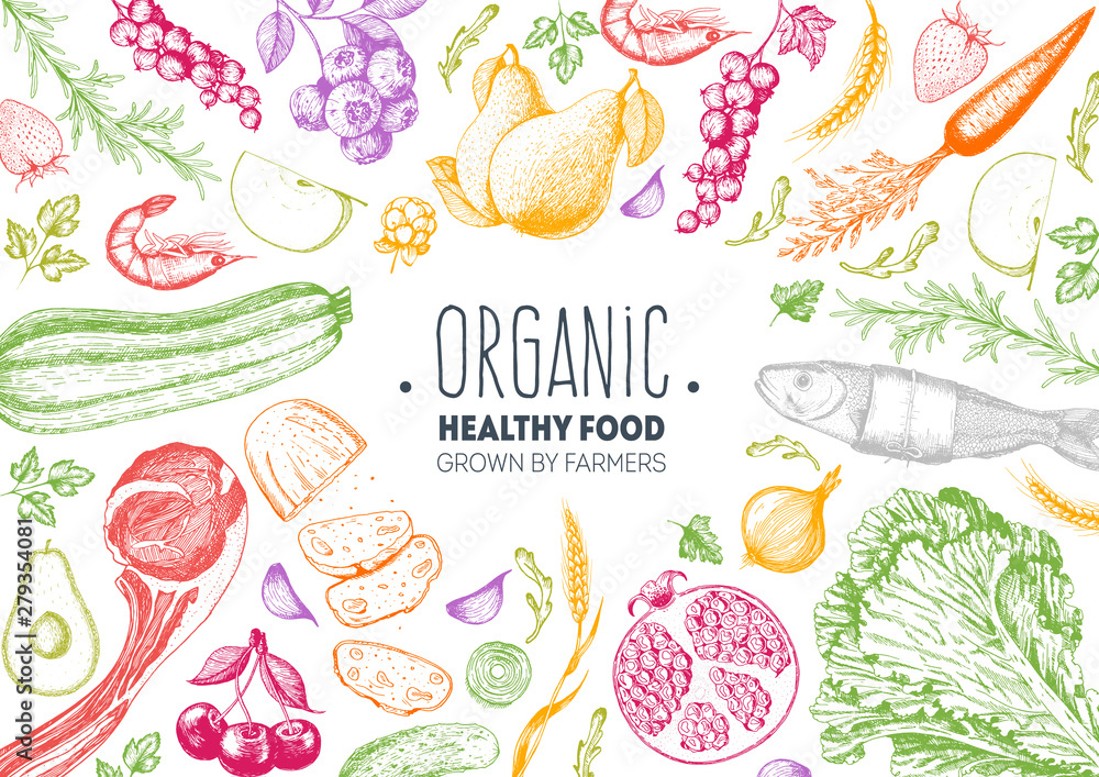 Fototapety, obrazy: Healthy food frame vector illustration. Vegetables, fruits, berries, meat hand drawn. Organic food set. Good nutrition. Hand drawn sketch. Engraving style. Bright design template.