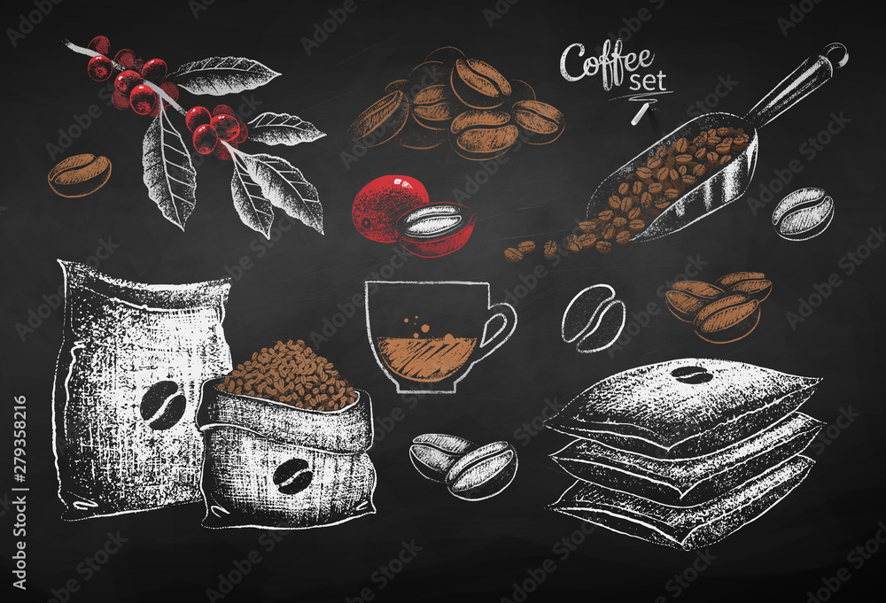 Fototapeta Illustrations of coffee beans sack and leaves