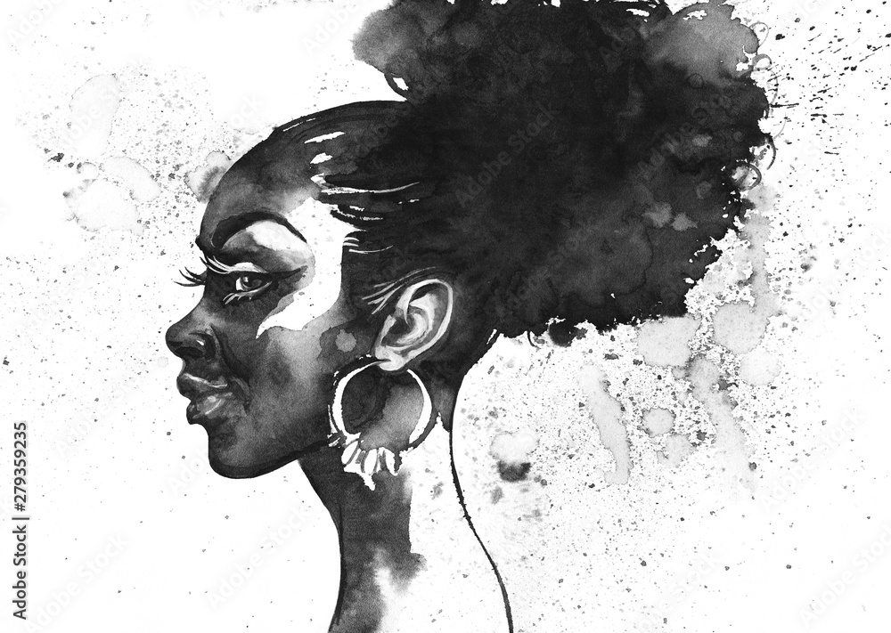 Fototapety, obrazy: Watercolor fashion portrait