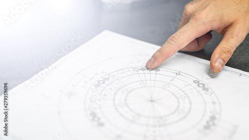 Fototapeta rysunek techniczny- plan- inżynier obraz