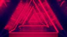 Abstract Background With Neon Red Triangles. Neon Triangular Electric Techno Lights. Red And Orange Golden  Laser Beams With Grid - Illustration