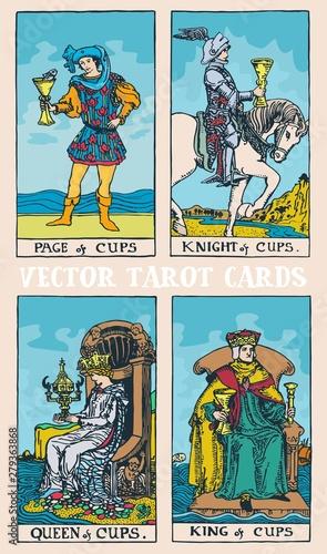 Fotografía Tarot cards deck colorful vector illustration with magic and mystic graphic deta