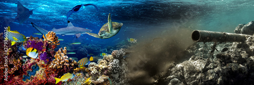 underwater sewer wastewater pipe pumping dirty waste junk water in coral reef enviroment nature protection damage and pollution. sea ocean global warming and climate change concept background