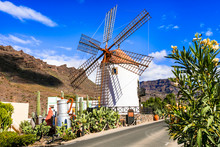 Traditional Village Mogan With Old Windmill , Canary Island. Gran Canaria Travel