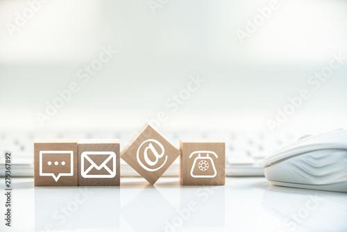 Fototapeta Hotline support contact communication concept obraz